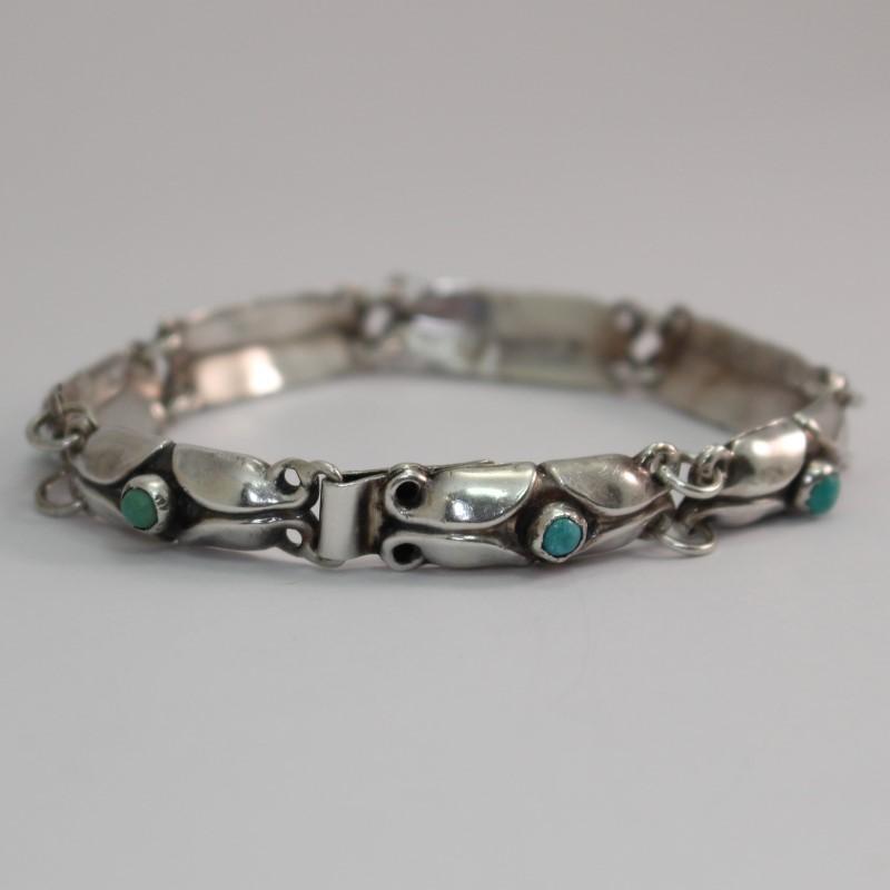 "Silver Round Cut Turquoise Stone Bracelet 7.5"""
