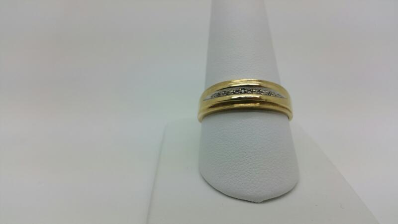 C-Z White Stone Gent's Stone Ring 10K Yellow Gold 1.9dwt Size:10