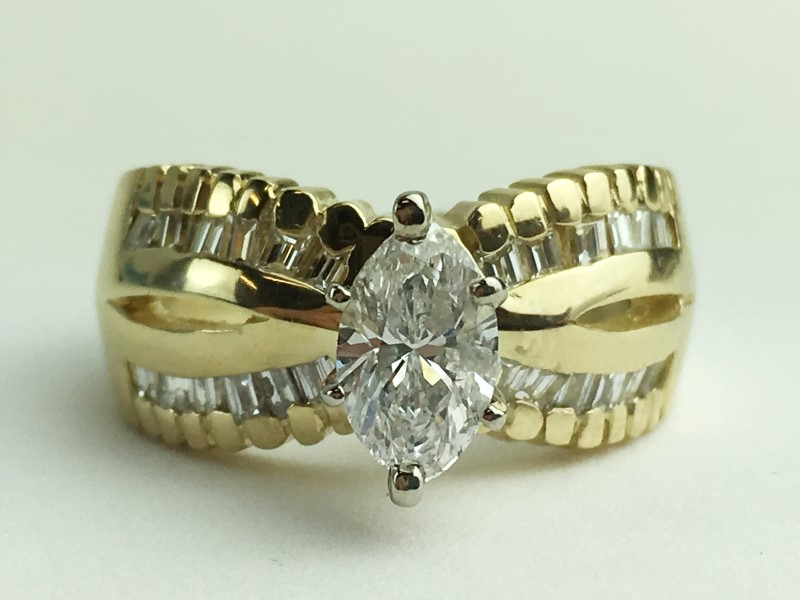 Lady's Diamond Engagement Ring 25 Diamonds 1.03 Carat T.W. 14K Yellow Gold