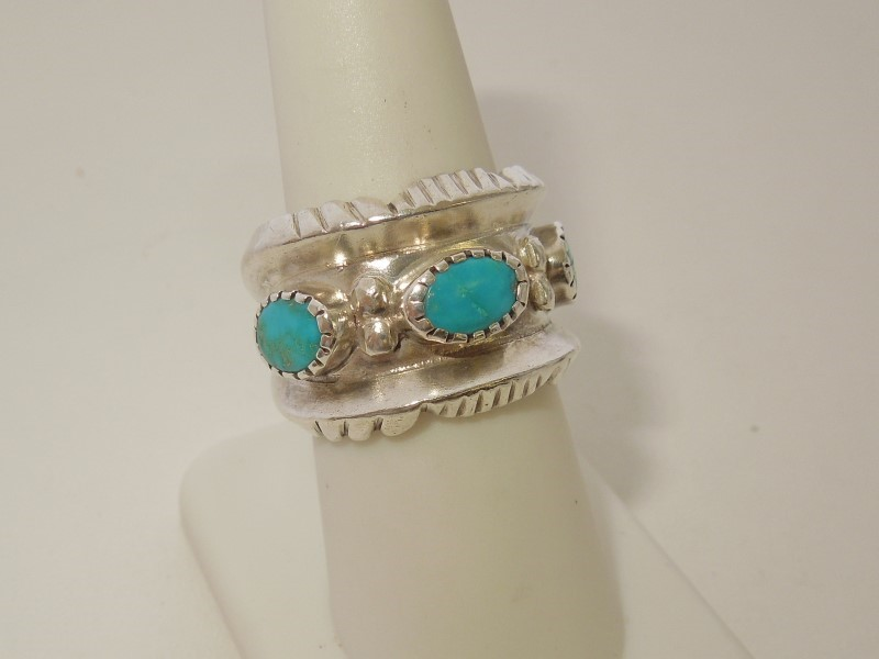 Synthetic Turquoise Lady's Silver & Stone Ring 925 Silver 11.6g Size:5.5
