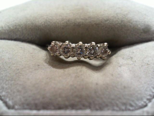 Lady's Diamond Wedding Band 5 Diamonds .50 Carat T.W. 14K White Gold 1.9g