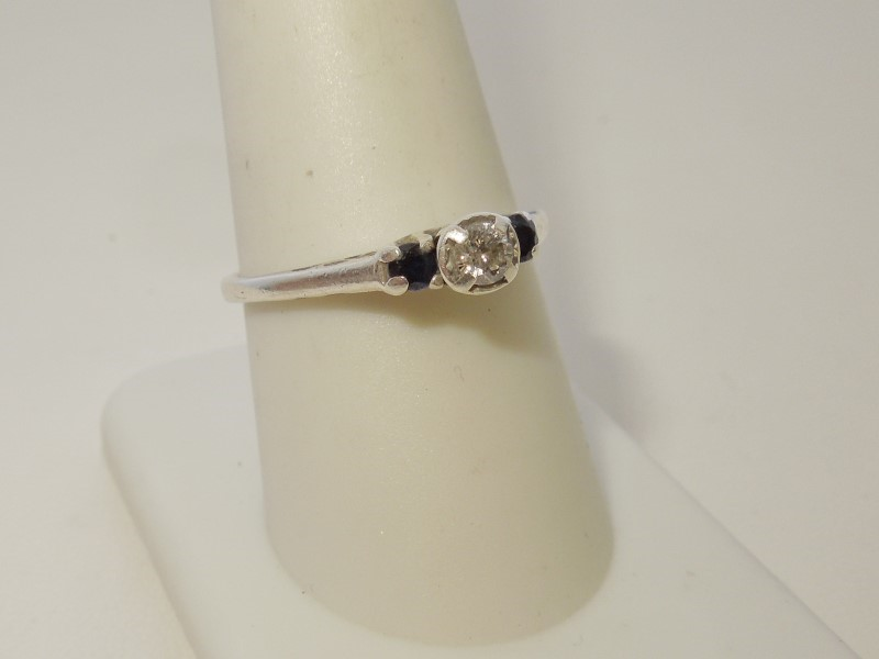 Synthetic Sapphire Lady's Silver-Diamond & Stone Ring .10 CT. 925 Silver 2.2g