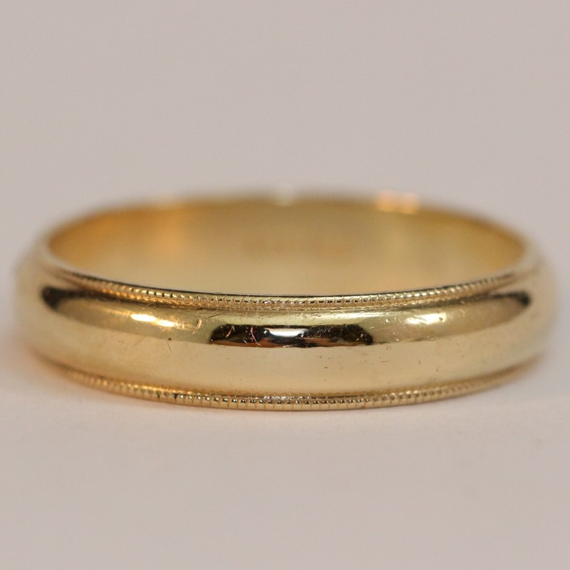 Men's 14K Yellow Gold Milgrain Detailed Wedding Band Ring Size 10.75
