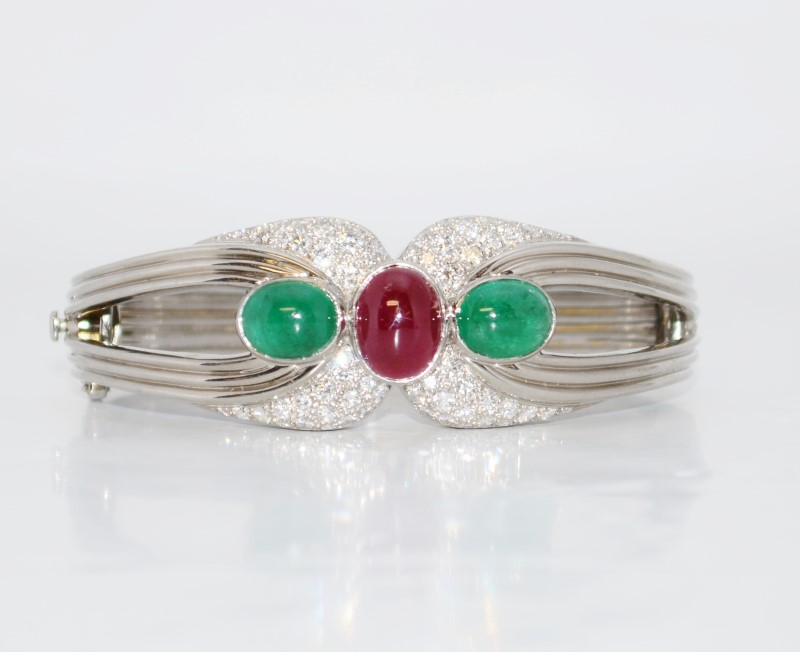 18K White Gold Elegant Cabochon Ruby, Emerald & Diamond Hinged Bangle Bracelet