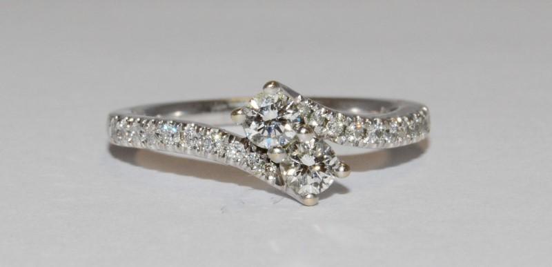 Lady's Diamond Cluster Ring 22 Diamonds .50 Carat T.W. 14K White Gold 3.4g