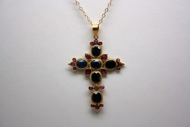 RUBY & SAPPHIRE 18K YELLOW GOLD CROSS