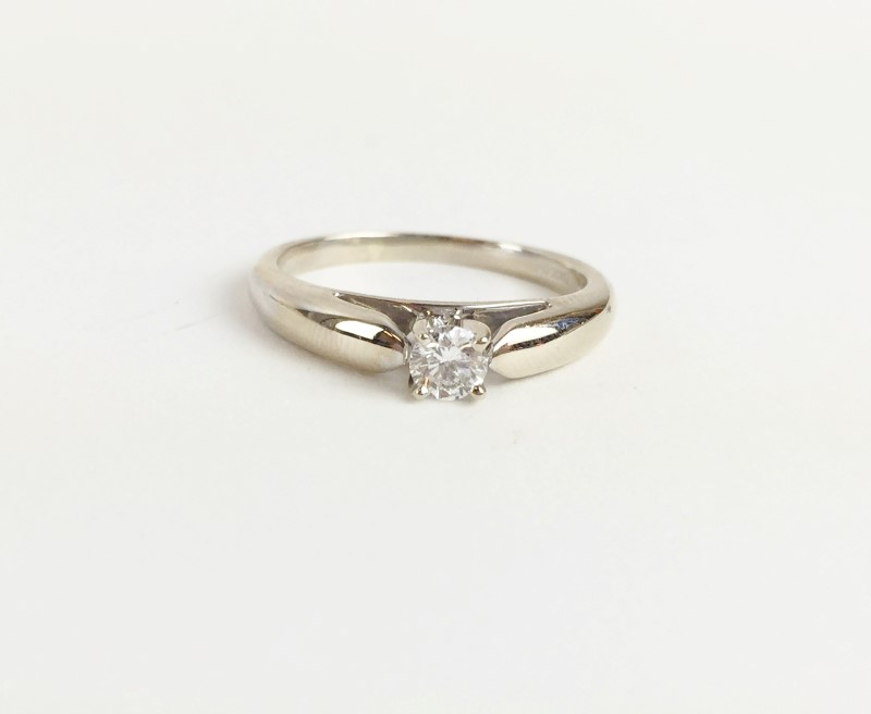 Diamond Solitaire Ring .30 CT. 14K White Gold 4.9g E I1 Certified