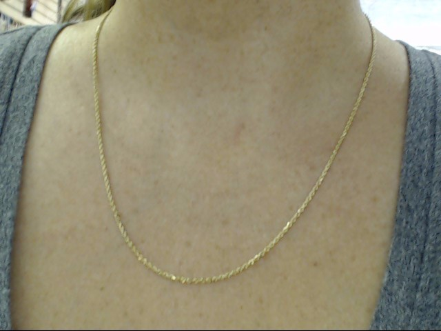 """ESTATE 20"""" 1.5mm ROPE TWIST NECKLACE CHAIN REAL 14K YELLOW GOLD 4.4g"""