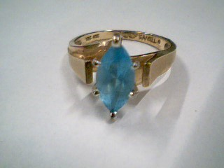 Synthetic Blue Topaz Lady's Stone Ring 10K Yellow Gold 2.9g Size:6.3