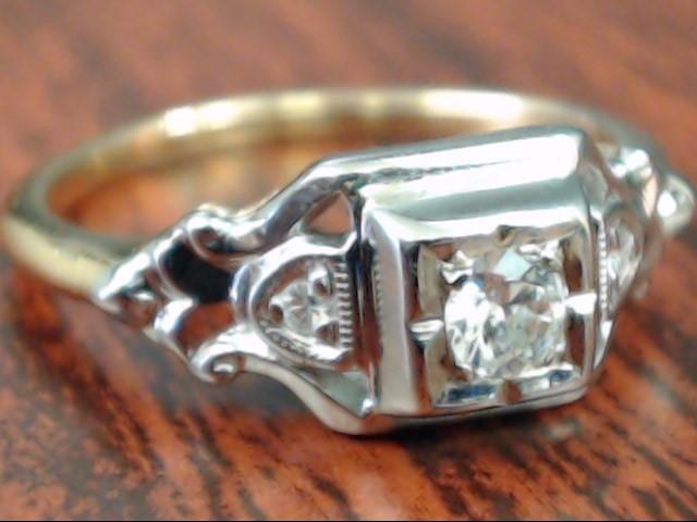 ESTATE NATURAL DIAMOND ORANGE BLOSSOM ENGAGE RING 14K GOLD SIZE 5.25
