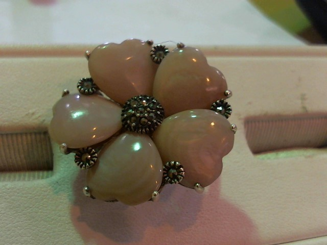 Pink Stone Lady's Silver & Stone Ring 925 Silver 12.1g