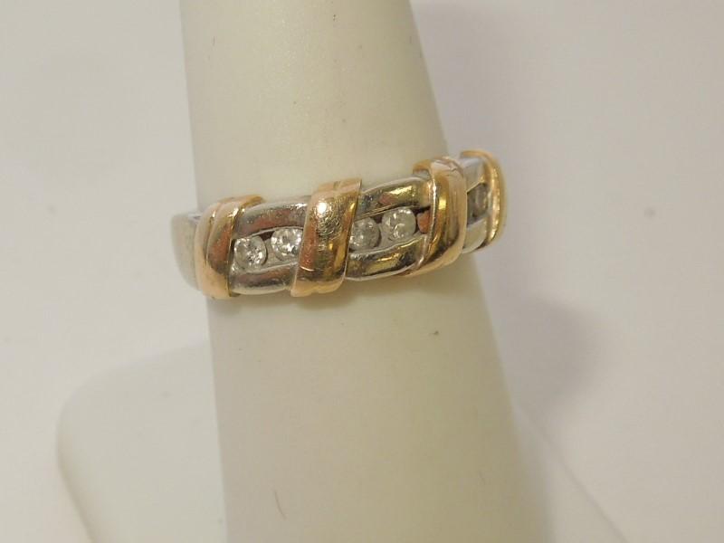 Lady's Diamond Fashion Ring 6 Diamonds .18 Carat T.W. 14K 2 Tone Gold 5.3g