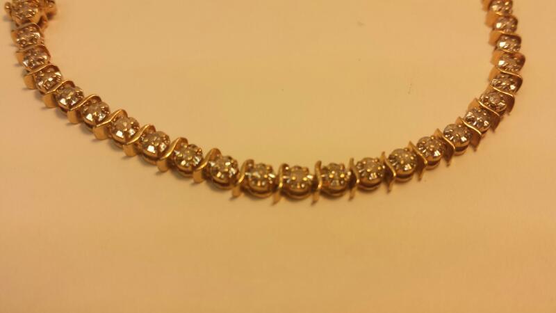 "14k Yellow Gold Bracelet with 48 Diamonds at .48ctw - 5.7dwt - Length 8"""