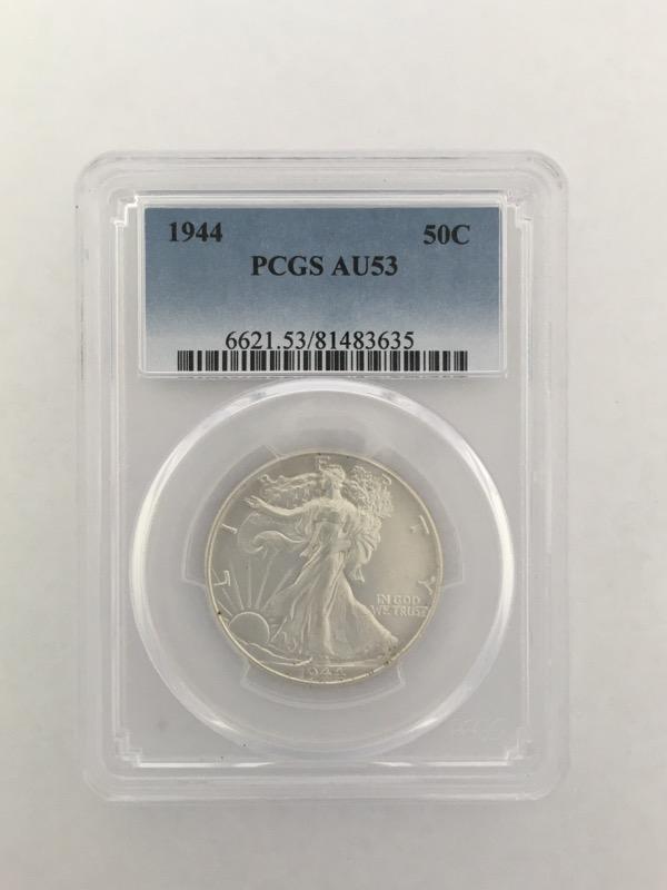 1944 Walking Liberty Half Dollar (50c) PCGS Graded AU53 90% Silver