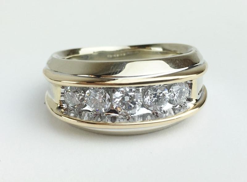 Gent's Gold-Diamond Wedding Band 5 Diamonds .95 Carat T.W. 14K White Gold