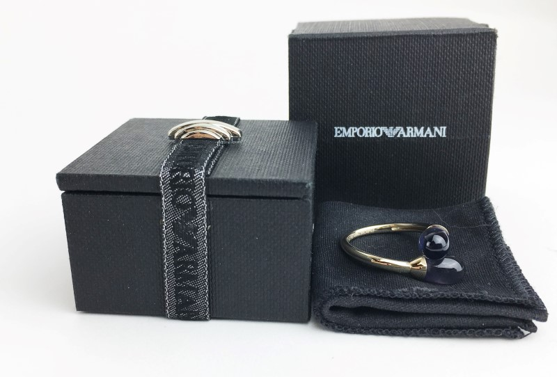 EMPORIO ARMANI 18K WG IOLITE BYPASS RING SIZE 7