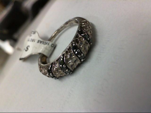 Lady's Silver-Diamond Ring 15 Diamonds .15 Carat T.W. 925 Silver 3.3g