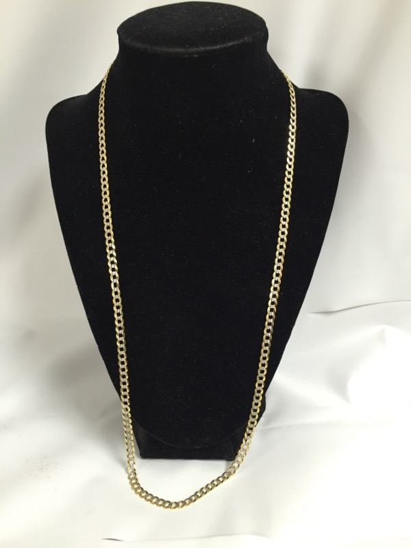 "26"" Gold Curb Chain 10K 2 Tone Gold 8.8dwt"