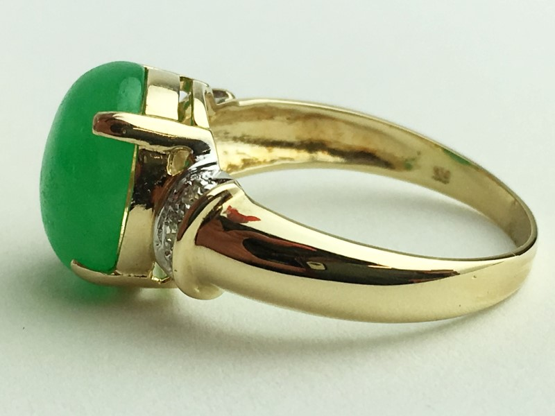 Jade Ring 14K Yellow Gold 3.86g Size:7