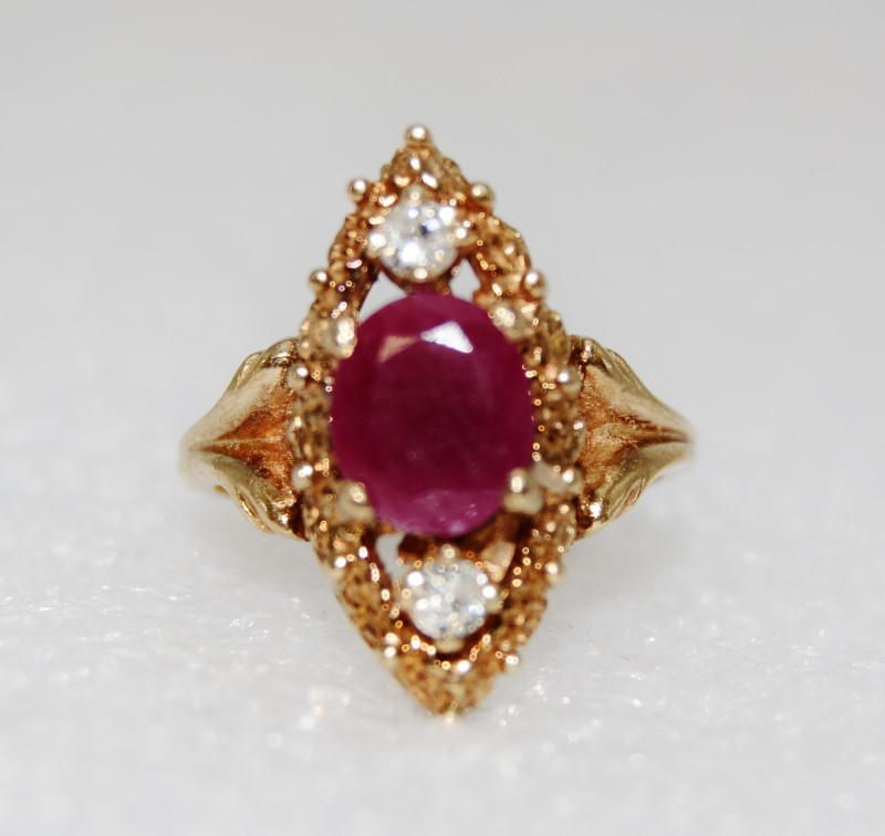 10K Yellow Gold Vintage Inspired Oval Ruby & Diamond Marquise Shaped Ring 5.75