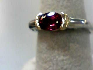 Almandite Garnet Lady's Stone Ring 14K 2 Tone Gold 1.8dwt Size:6.7