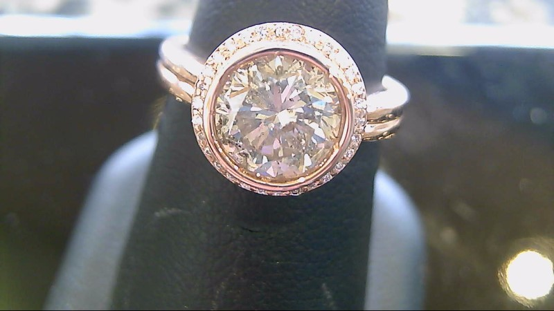 2.21 CTW Center Diamond Engagement Ring 14K Rose Gold 7.2g