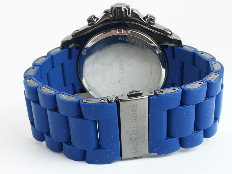 GENTS MICHAEL KORS MK-8233 DRAKE BLUE SILICON CHRONOGRAPH WATCH
