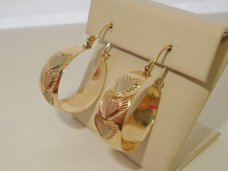 Gold Earrings 14K Tri-color Gold 6.1g