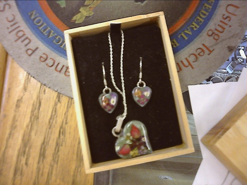 Silver Necklace & Earrings 925 Silver 5dwt, Mini-Flowers Coated in Clear Resin