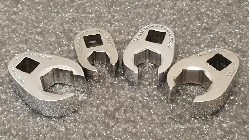 """Snap On 3/8"""" 6pt Flare Nut Metric Crowfoot Wrench, Lot of 4"""