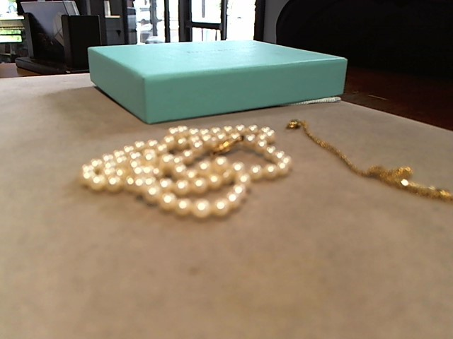 Synthetic Pearl Stone Necklace 14K Yellow Gold 1g