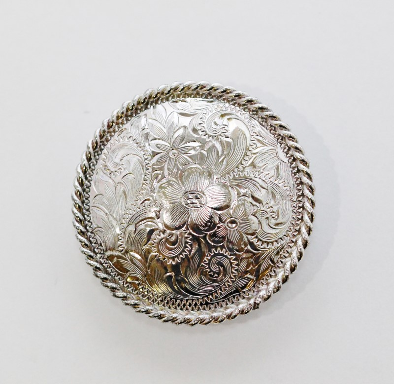 Silver Colored Round Floral Filigree Western Belt Stud