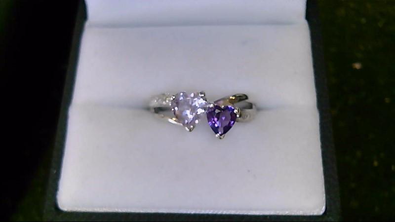 Lady's sterling silver 925 2-heart amethyst sz 6.5 ring