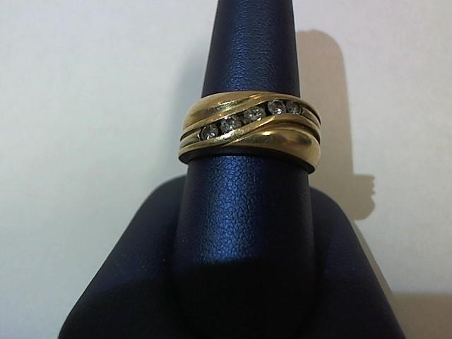 Gent's Gold-Diamond Wedding Band 5 Diamonds .45 Carat T.W. 14K Yellow Gold