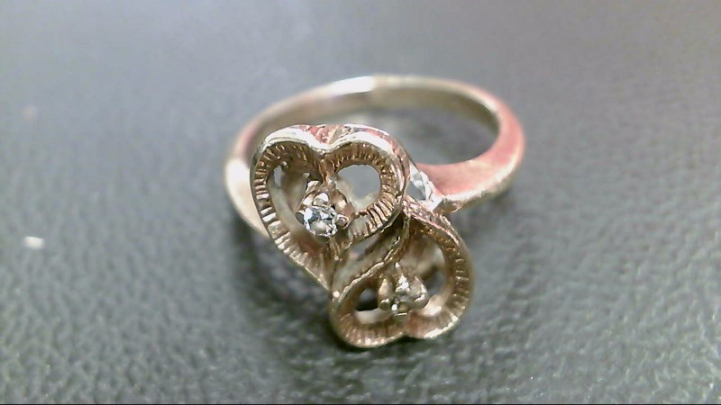 Lady's Diamond Fashion Ring 2 Diamonds .08 Carat T.W. 10K Yellow Gold 2.9g