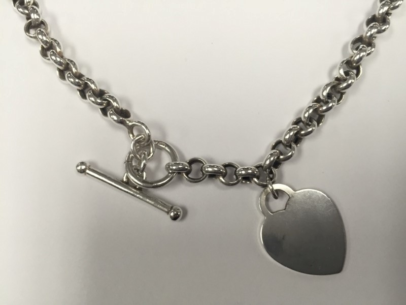 """18"""" STERLING SILVER NECKLACE WITH HEART TAG"""