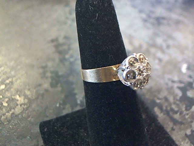 Lady's Diamond Cluster Ring 5 Diamonds .05 Carat T.W. 10K 2 Tone Gold 1.6dwt