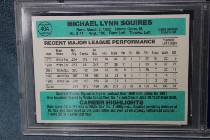 Mike Squires 1984 Donruss Chicago White Sox #404 PSA NM-MT 8