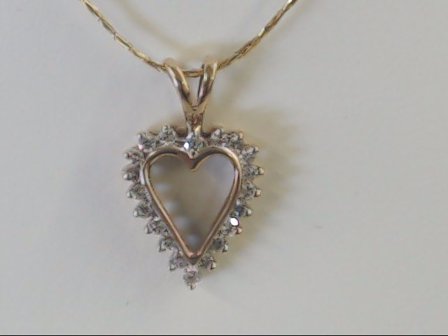 VINTAGE DIAMOND HEART PENDANT CHARM SOLID REAL 10K GOLD LOVE PROMISE