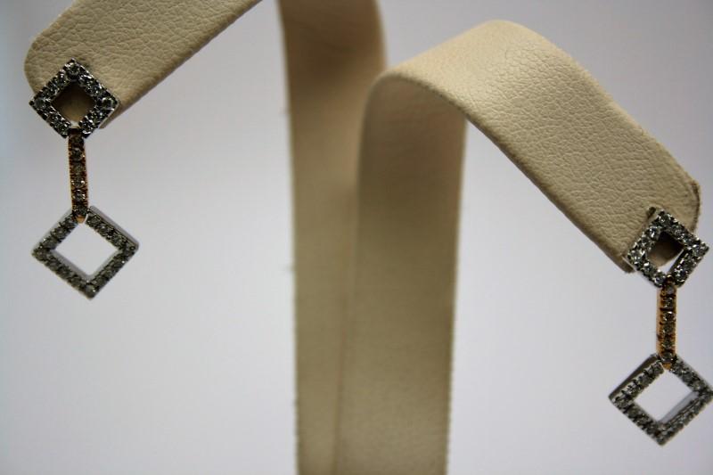 FASHION STYLE DANGLE DIAMOND EARRINGS 18K WHITE GOLD