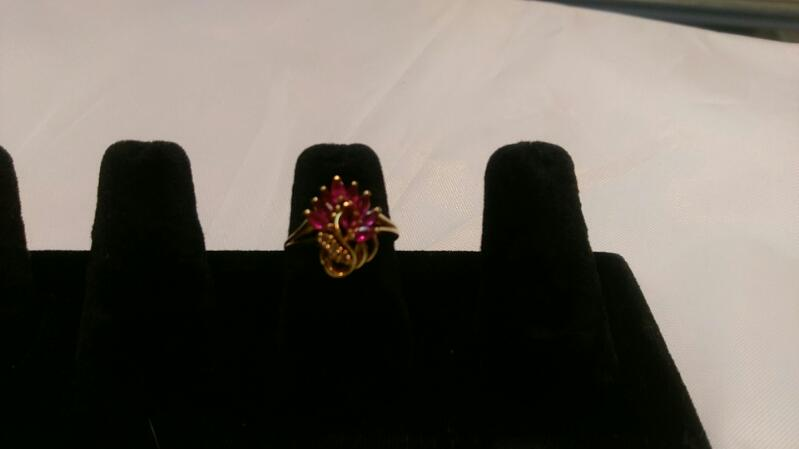 Synthetic Ruby Lady's Stone Ring 14K Yellow Gold 2.8g Size:6