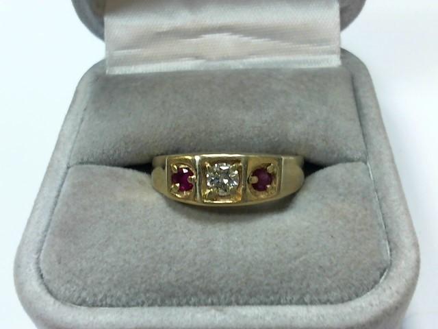 Ruby Gent's Stone & Diamond Ring .22 CT. 14K Yellow Gold 6.4g