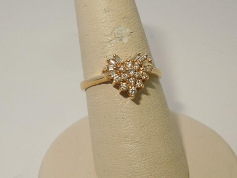 Lady's Diamond Fashion Ring 20 Diamonds .33 Carat T.W. 14K Yellow Gold 2.7g