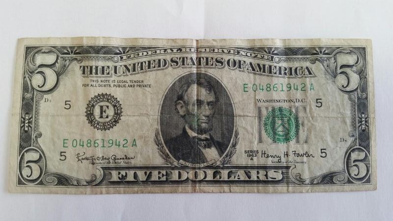 UNITED STATES Paper Money - World 5.00 SERIES 1963 UNITED STATES NOTE