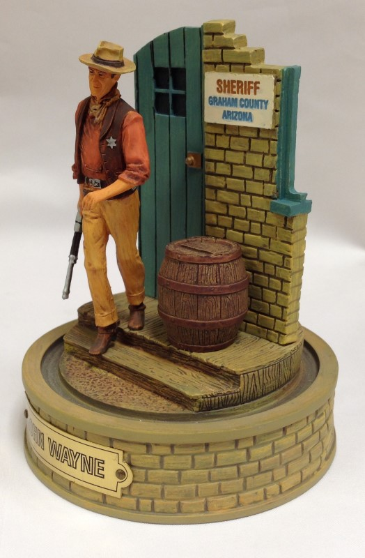 LIMITED EDITION JOHN WAYNE HAND PAINTED SCULPTURE WITH GLASS DOME