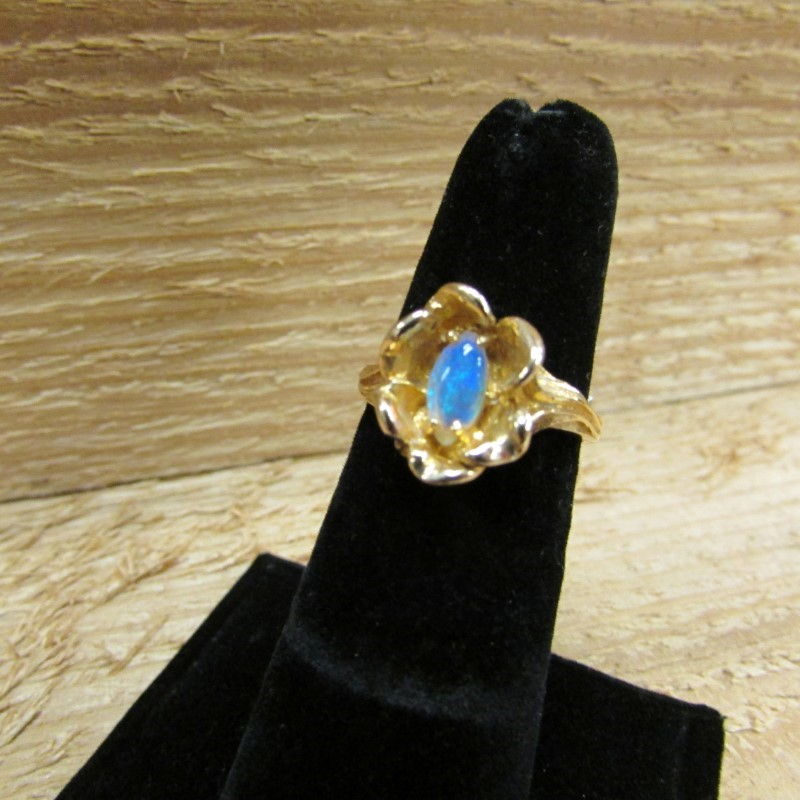 Synthetic Opal Lady's Stone Ring 14K Yellow Gold 4.5g Size:6.5