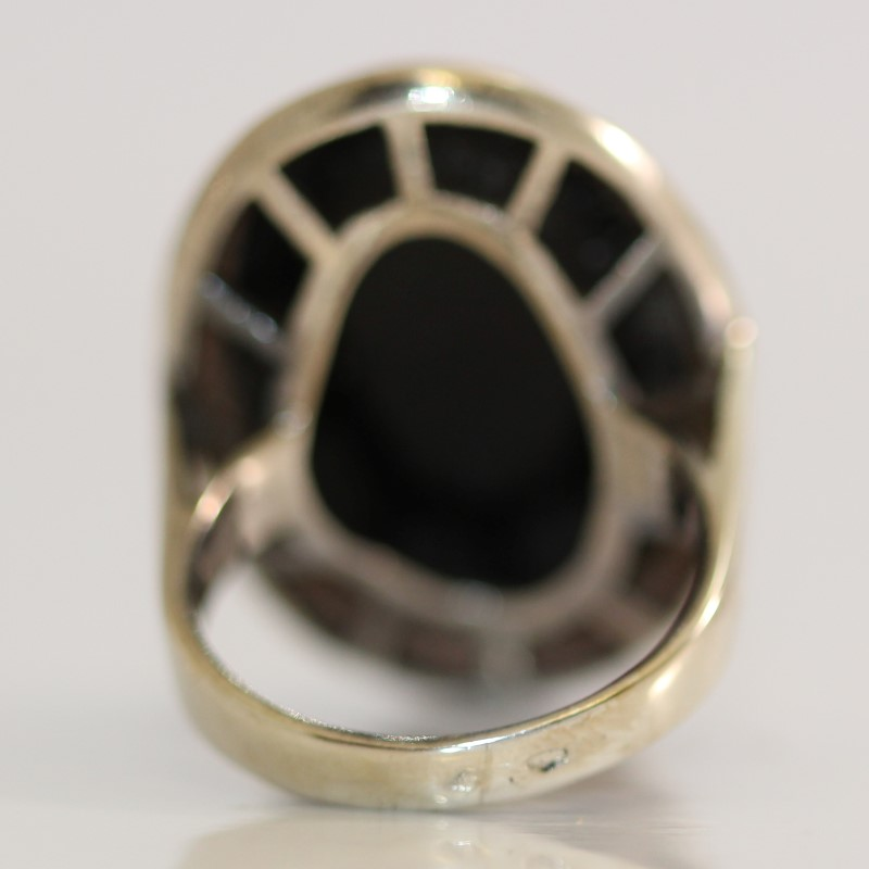 Vintage Inspired Ladies Black Onyx Silver and Gold Ring 8.1g Size:6
