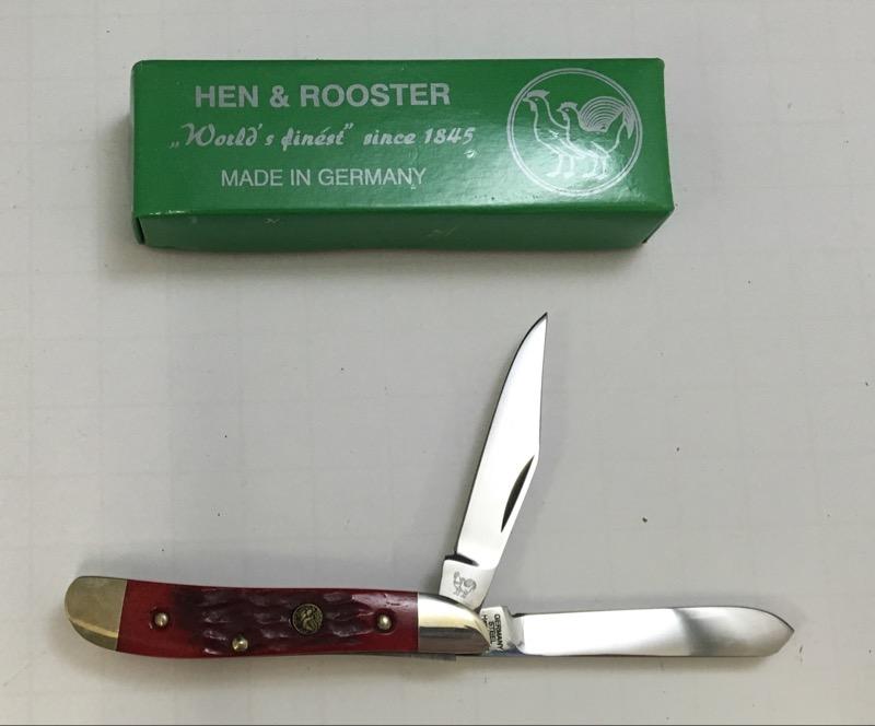 Hen & Rooster Red Jigged Bone Peanut Dual Blade Pocket KNife 402-RJB