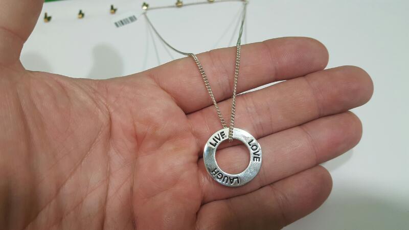 """16"""" Silver Chain Live, Laugh, Love Pendant 925 Silver 6.5g"""