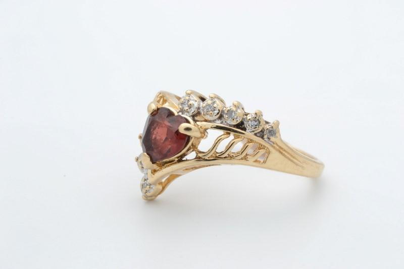ESTATE GARNET RED DIAMOND HEART RING SOLID 14K GOLD LOVE PROMISE 6